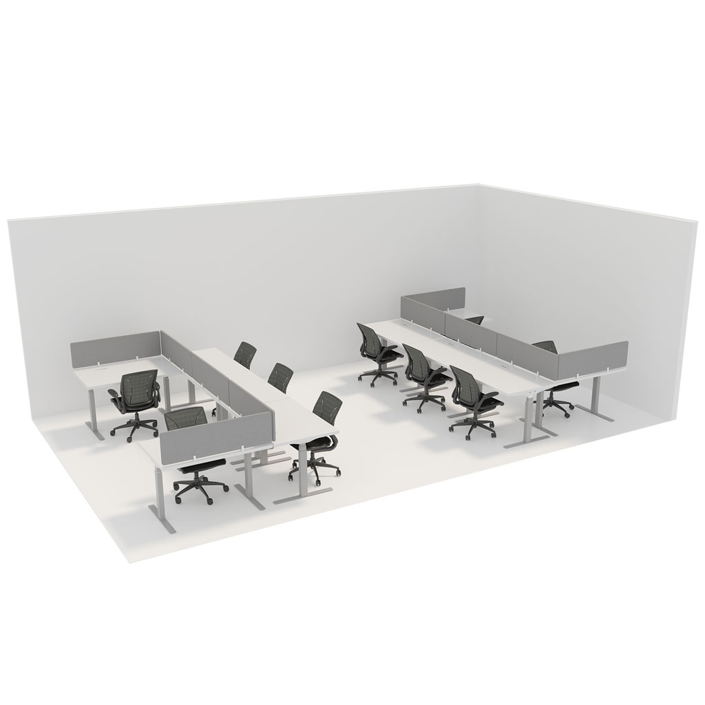 Office Plan, WORK STATION 1200mm DESK IN A CRISS CROSS ARRANGEMENT – PER PERSON