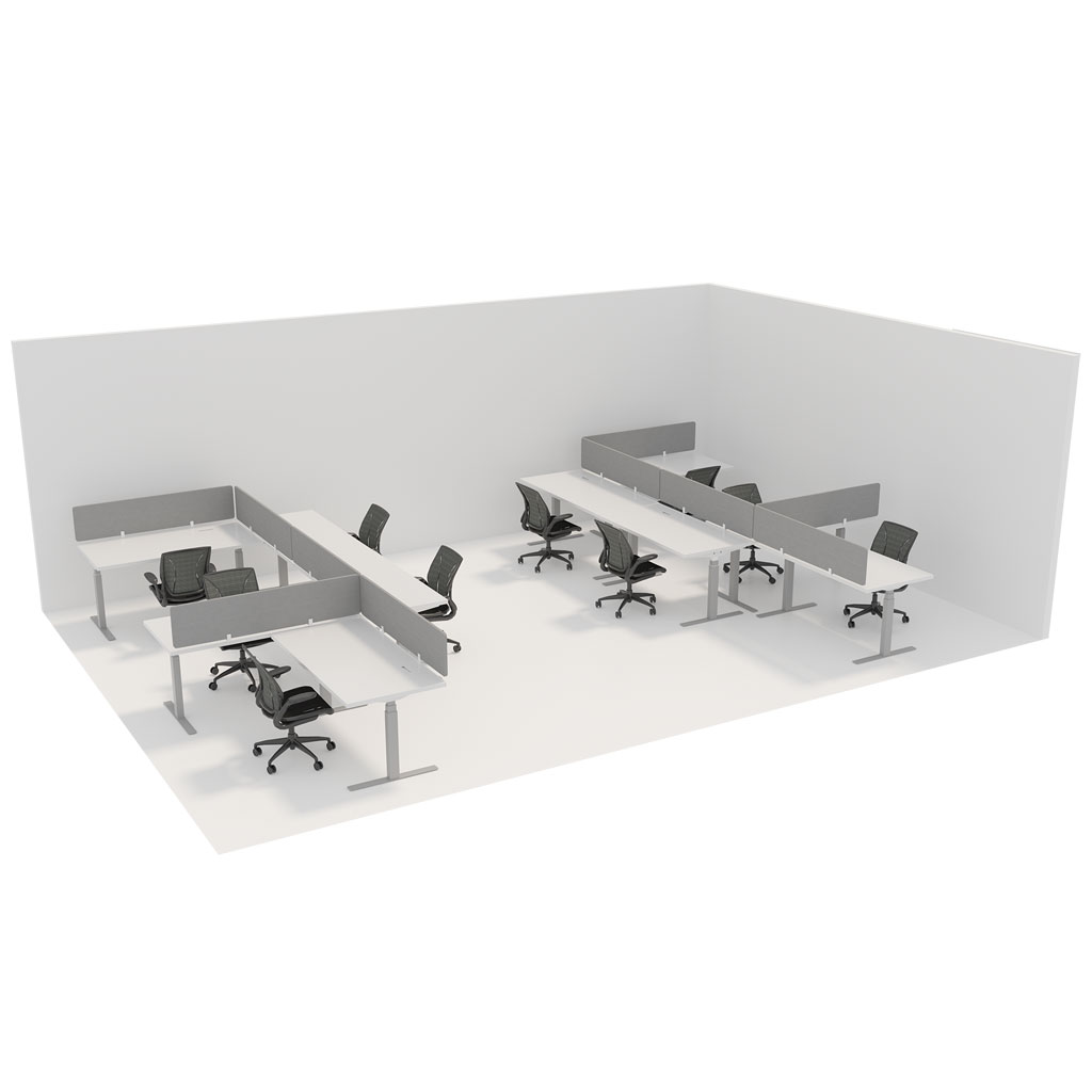 Office Plan, WORK STATION 1600mm DESK IN A CRISS CROSS ARRANGEMENT – PER PERSON